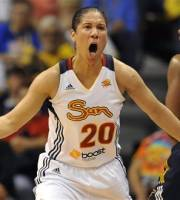 Connecticut Sun's Kara Lawson reacts in the first half of Game 1 of the WNBA basketball Eastern Conference Finals against the Indiana Fever in Uncasville, Conn., Friday, Oct. 5, 2012. (AP Photo/Jessica Hill)