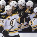 Boston Bruins defenceman Kevan Miller (86) is congratulated by teammates after scoring on the Toronto Maple Leafs during the second period of an NHL hockey game in Toronto on Sunday, Dec. 8, 2013. (AP Photo/The Canadian Press, Frank Gunn)