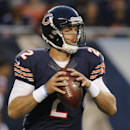 In this Aug. 8, 2014, file photo, Chicago Bears quarterback Jordan Palmer (2) looks for a receiver in the first half of an NFL preseason football game against the Philadelphia Eagles in Chicago. Thad Lewis is out and Jordan Palmer is in following the Buff