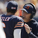 Chicago Bears head coach Marc Trestman, right, talks to quarterback Jay Cutler during the second half of an NFL football game against the Buffalo Bills Sunday, Sept. 7, 2014, in Chicago The Associated Press