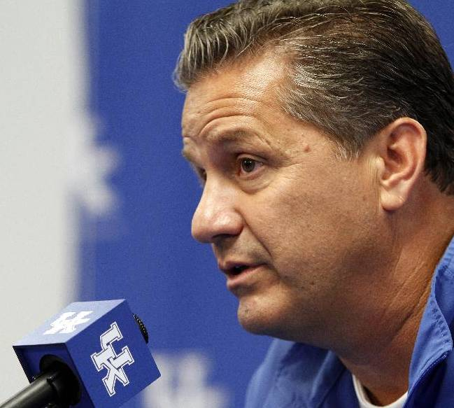Kentucky head coach John Calipari answers a reporters question during NCAA college basketball media day, Tuesday, Oct. 15, 2013, in Lexington, Ky