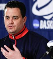 Arizona coach Sean Miller talks about his upcoming third round game against Gonzaga in the NCAA college basketball tournament at a news conference, Saturday, March 22, 2014, in San Diego. The teams play Sunday. (AP Photo/Lenny Ignelzi)