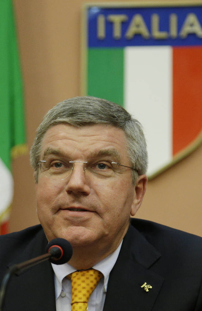 International Olympic Committee President Thomas Bach attends a press conference for the Italian Olympic Committee-CONI's 100th anniversary in Rome, Monday, June 9, 2014. (AP Photo/Gregorio Borgia)