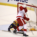 Florida Panthers goalie Roberto Luongo (1) is unable to block a goal by Detroit Red Wings' Drew Miller (20) during the first period of an NHL hockey game in Sunrise, Fla., Tuesday, Jan. 27, 2015 The Associated Press