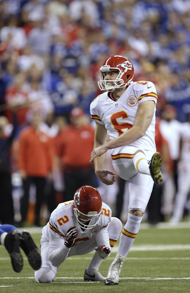 Kansas City Chiefs kicker Ryan Succop (6) makes a 19-yard field goal against the Indianapolis Colts during the first half of an NFL wild-card playoff football game Saturday, Jan. 4, 2014, in Indianapolis
