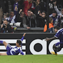 Anderlecht's Andy Najar, left, who scored his team's first goal, and Anderlecht's Frank Acheampong, right, celebrate during the Group D Champions League match between Anderlecht and Arsenal at Constant Vanden Stock Stadium in Brussels, Belgium, Wednesday