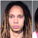 This combo of booking photos released by the Maricopa County Sheriff's Office, show WNBA players Brittney Griner, left, and her fiancee Glory Johnson. The couple were arrested Wednesday, April 22, 2015, on suspicion of assault and disorderly conduct following a fight at their home in a Phoenix suburb. The two 24-year-olds were booked into jail in Phoenix following their arrests and later released. The pair announced their engagement late last summer. (Maricopa County Sheriff's Office via AP)