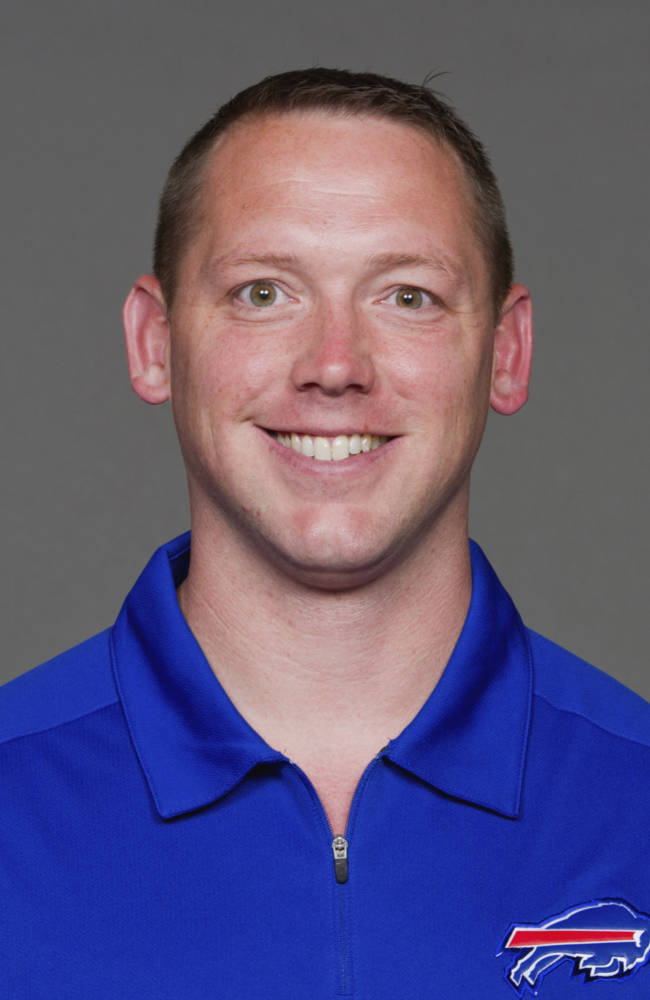 In this June 10. 2013, file photo, Jim O'Neil of the Buffalo Bills NFL football team poses for a photo. New Cleveland Browns coach Mike Pettine is assembling his staff; one coach he's expected to contact as a possible defensive coordinator is Buffalo linebackers coach O'Neil, who has spent the past five seasons working under Pettine. (AP Photo, File)