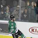 Dallas Stars center Tyler Seguin (91) celebrates scoring a goal during an overtime shootout during an NHL hockey game against the Nashville Predators Tuesday, April 8, 2014, in Dallas. Dallas won 3-2 The Associated Press