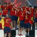 Spain's national soccer team players celebrate their Euro 2012 victory on a stage in downtown Madrid July 2, 2012. REUTERS/Andrea Comas