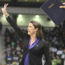 Duke head coach Joanne McCallie directs her team during the first half of the regional final game of the women's NCAA college basketball tournament Tuesday, April 2, 2013, in Norfolk, Va. Notre Dame won 87-76. (AP Photo/Jason Hirschfeld)