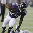 Baltimore Ravens running back Justin Forsett (29) leaps over Dallas Cowboys outside linebacker Anthony Hitchens (59) during the second half of an NFL preseason football game Saturday, Aug. 16, 2014, in Arlington, Texas The Associated Press