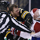 Boston Bruins right wing Shawn Thornton, left, tangles with Montreal Canadiens defenseman Andrei Markov (79) during the second period of an NHL hockey game, Monday, March 24, 2014, in Boston The Associated Press
