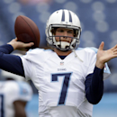 Tennessee Titans quarterback Zach Mettenberger warms up before an NFL football game against the Jacksonville Jaguars Sunday, Oct. 12, 2014, in Nashville, Tenn. (AP Photo/Wade Payne)