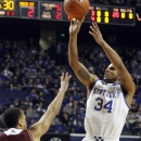 Kentucky's Julius Mays (34) shoots over Mississippi State's Jalen Steele during the first half of an NCAA college basketball game at Rupp Arena in Lexington, Ky., Wednesday, Feb. 27, 2013. (AP Photo/James Crisp)