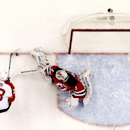 New Jersey Devils goalkeeper Keith Kinkaid, right, defends his net against Florida Panthers' Brandon Pirri during the first period of an NHL hockey game, Saturday, Jan. 31, 2015, in Newark, N.J. The Devils won 3-1 The Associated Press
