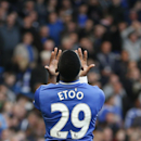 Chelsea's Samuel Eto'o gestures after missing a chance to score against Sunderland during an English Premier League soccer match at the Stamford Bridge ground in London, Saturday, April 19, 2014. Sunderland won the match 2-1