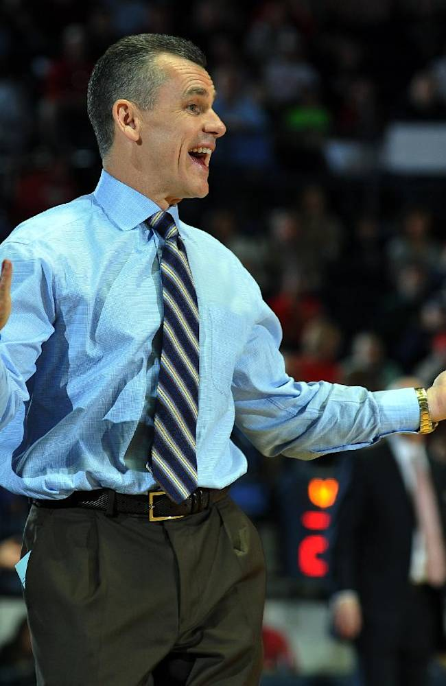 Florida coach Bill Donovan reacts against Mississippi during an NCAA college basketball game in Oxford, Miss., Saturday, Feb. 22, 2014