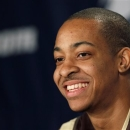 FILE - In this March 17, 2012 file photo, Lehigh's C.J. McCollum answers a question during a news conference in Greensboro, N.C. McCollum is back at full speed three months after suffering a left foot injury. And it's like he never left. (AP Photo/Gerry Broome, File)