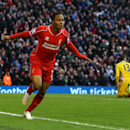 Liverpool's Raheem Sterling celebrates his goal against West Ham during the English Premier League soccer match at Anfield, Liverpool, England, Saturday, Jan. 31, 2015