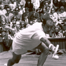 FILE - In this June 26, 1965 file photo, Bob Hewitt competes during a tennis match at Wimbledon, England. A South African judge on Monday, March 23, 2015 convicted former Grand Slam doubles tennis champion Bob Hewitt of rape and sexual assault decades after the alleged assaults. (AP Photo, File)