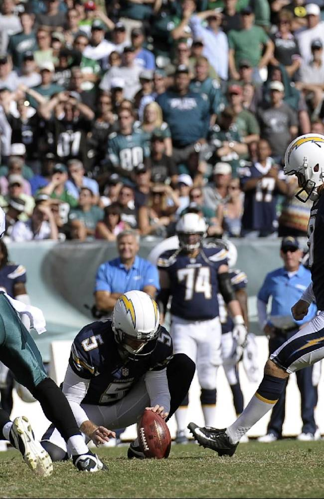 San Diego Chargers' Nick Novak kick the go-ahead field goal during the second half of an NFL football game against the Philadelphia Eagles, Sunday, Sept. 15, 2013, in Philadelphia. San Diego won 33-30