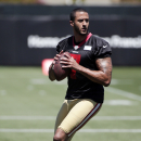 San Francisco 49ers quarterback Colin Kaepernick prepares to throw during an NFL football training camp on Thursday, July 24, 2014, in Santa Clara, Calif. (AP Photo) The Associated Press