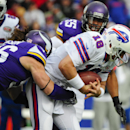 Minnesota Vikings defensive end Brian Robison (96) sacks Buffalo Bills quarterback Kyle Orton (18) during the first half of an NFL football game Sunday, Oct. 19, 2014, in Orchard Park, N.Y The Associated Press