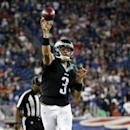 Philadelphia Eagles quarterback Mark Sanchez throws a touchdown pass to wide receiver Arrelious Benn in the first half of an NFL preseason football game against the New England Patriots Friday, Aug. 15, 2014, in Foxborough, Mass The Associated Press