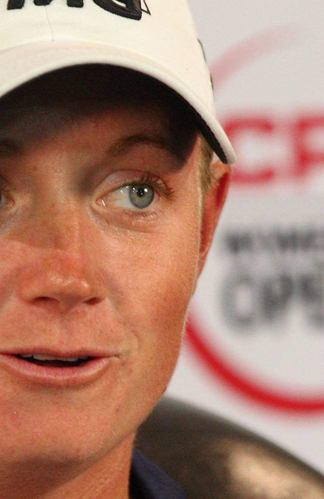 World number one ranked player Stacy Lewis answers questions at the Canadian Pacific Women's Open golf tournament in London, Ontario, Wednesday, Aug. 20, 2014