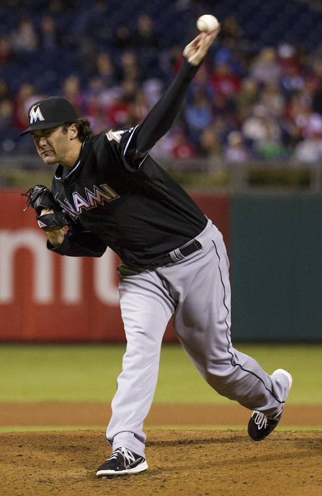 Miami Marlins starting pitcher Brian Flynn delivers against the Philadelphia Phillies during the fourth inning of a baseball game, Tuesday, Sept. 17, 2013, in Philadelphia