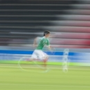 In this panning shot taken with a slow shutter speed, Mexico's Bernardo Hernandez plays the ball during the Under-20 World Cup Group D soccer match between Mexico and Paraguay in Gaziantep, Turkey, Tuesday, June 25, 2013. Mexico lost by 0-1 against Paraguay. (AP Photo/Gero Breloer)