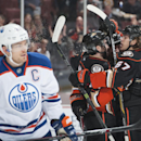 The Ducks' celebrate Matt Beleskey's first period goal behind the Oilers' Andrew Ference at Honda Center Wednesday night Dec. 10, 2014 The Associated Press