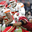 Kansas City Chiefs running back Jamaal Charles (25) is tackled by Arizona Cardinals inside linebacker Kevin Minter (51) during the first half of an NFL football game, Sunday, Dec. 7, 2014, in Glendale, Ariz The Associated Press