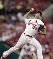 St. Louis Cardinals starting pitcher Michael Wacha throws during the first inning of a baseball game against the Milwaukee Brewers on Monday, April 28, 2014, in St. Louis. (AP Photo/Jeff Roberson)