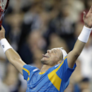 Lleyton Hewitt, of Australia, reacts after defeating Juan Martin del Potro, of Argentina, in a second round match at the U.S. Open tennis tournament, Friday, Aug. 30, 2013, in New York. (AP Photo/Darron Cummings)
