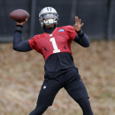 Carolina Panthers quarterback Cam Newton prepares to throw a pass during an NFL football practice in Charlotte, N.C., Thursday, Dec. 18, 2014. (AP Photo/Chuck Burton)