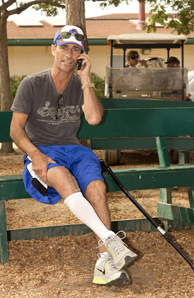 In this image provided by Benoit Photo, Hall of Fame jockey Gary Stevens pauses during backstretch rounds at Del Mar Race Track in Del Mar, Calif., Sunday, Aug. 10, 2014. Stevens continues on his road to recovery after right knee replacement surgery