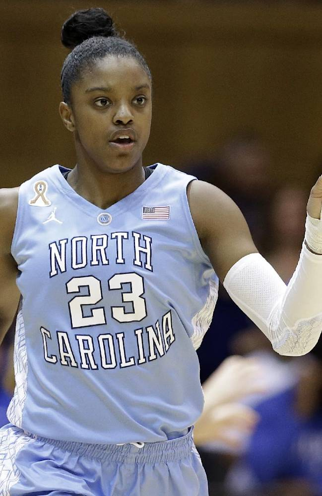 North Carolina's Diamond DeShields (23) reacts following a basket against Duke during the first half of an NCAA college basketball game in Durham, N.C., Monday, Feb. 10, 2014. North Carolina won 89-78