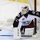RETRANSMISSION TO CORRECT SPELLING OF NAME -Columbus Blue Jackets goaltender Sergei Bobrovsky, of Russia, makes a save as he slides back into the net knocking it off its moorings during the third period of an NHL hockey game season opener against the Buff
