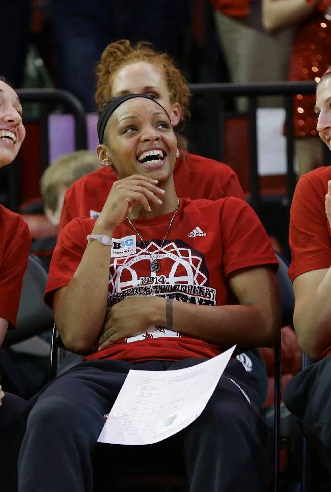 CORRECT ROUND THEY WILL PLAY IN THE TOURNAMENT - Nebraska's Rachel Theriot, left, Brandi Jeffery, center, and Jordan Hooper, right, react after they hear their assignment at the NCAA college basketball tournament during a live television broadcast in Lincoln, Neb., Monday, March 17, 2014. Nebraska will play in the first round against Fresno State in Los Angeles