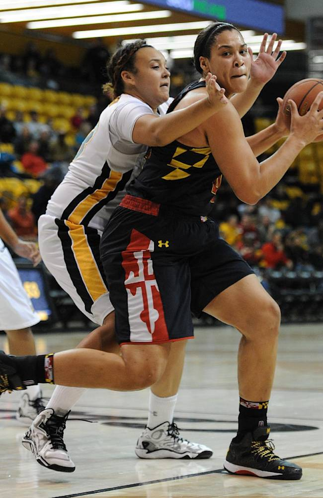 Maryland's Brionna Jones, right, looks to shoot as Towson's Camille Alberson, left, defends in the second half of an NCAA college basketball game on Saturday, Nov. 23, 2013, in Towson, Md. Maryland won 90-53