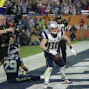 New England Patriots wide receiver Danny Amendola (80) celebrates his four-yard touchdown catch during the second half of NFL Super Bowl XLIX football game against the Seattle Seahawks Sunday, Feb. 1, 2015, in Glendale, Ariz The Associated Press