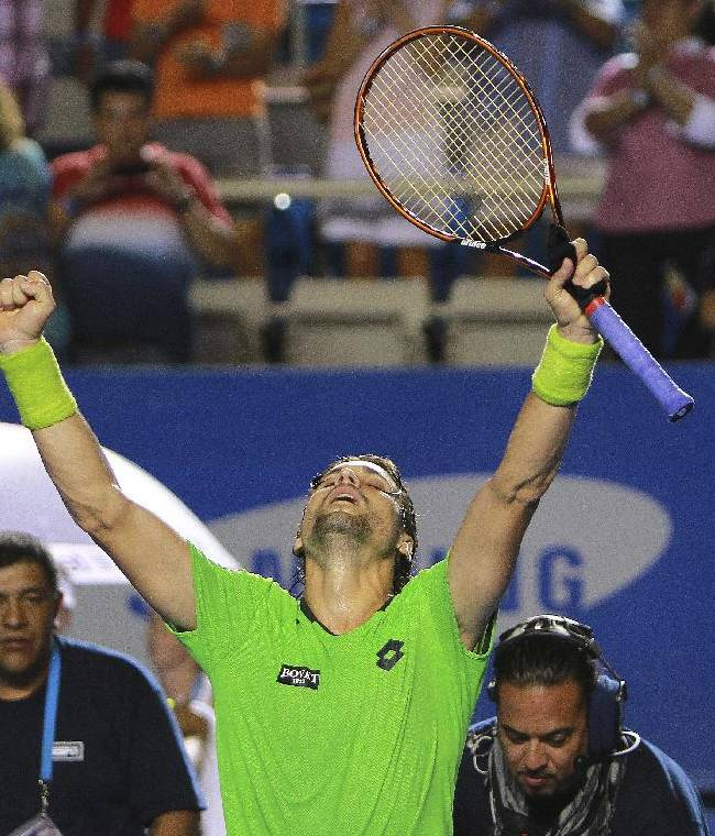 Spain's David Ferrer celebrates after defeating Spain's Feliciano Lopez during a match of the Mexican Tennis Open in Acapulco, Mexico, Wednesday Feb. 26, 2014