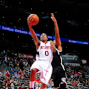 ATLANTA, GA - JANUARY 28: Jeff Teague #0 of the Atlanta Hawks puts up a shot against the Brooklyn Nets on January 28, 2015 at Philips Arena in Atlanta, Georgia. (Photo by Scott Cunningham/NBAE via Getty Images)