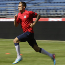 Fabian Johnson, of the U.S. national soccer team, runs Monday, June 10, 2013, during practice in Seattle. The U.S. will face Panama on Tuesday, June 11, 2013, for a World Cup qualifier soccer match. (AP Photo/Ted S. Warren)