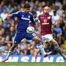 Chelsea's Diego Costa, left, competes for the ball with Aston Villa's Alan Hutton during their English Premier League soccer match at Stamford Bridge, London, Saturday, Sept. 27, 2014.