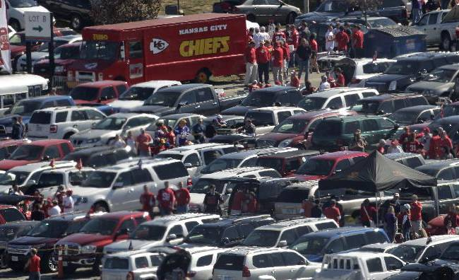 Kansas City Chiefs fans gather in the parking lot at Arrowhead Stadium before an NFL football game against the Minnesota Vikings Sunday, Oct. 2, 2011 in Kansas City, Mo
