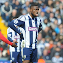 West Brom's Victor Anichebe reacts during the English Premier League soccer match between West Bromwich Albion and Manchester United at The Hawthorns Stadium in West Bromwich, England, Saturday, March 8, 2014