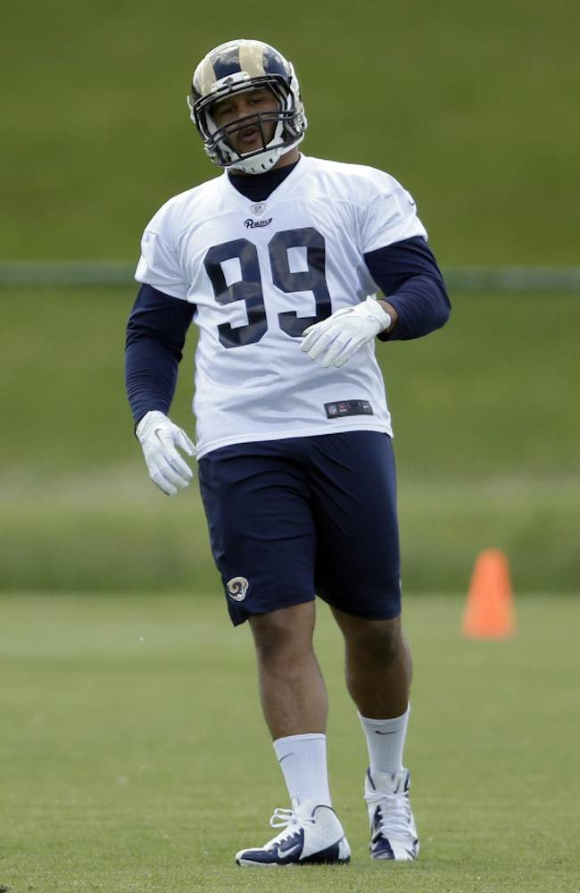 St. Louis Rams first-round draft pick Aaron Donald takes part in a drill during the team's NFL football rookie camp Friday, May 16, 2014, in St. Louis